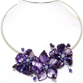 Choker Necklace Mother Of Pearl Purple Lavender FNE527