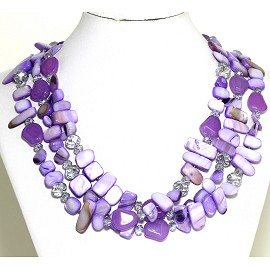 Necklace 3 Strand Crystal Rectangle Seashell Lavender FNE541
