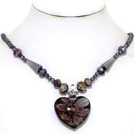 Glass Pendant Crystal Necklace Flower Heart Black Purple FNE542