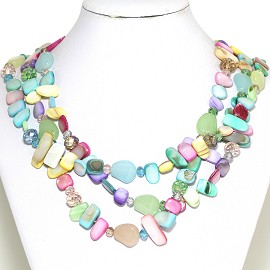 Necklace 3 Strand Crystal Rectangle Seashell Multi Color FNE548