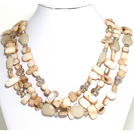 Necklace 3 Strand Crystal Rectangle Seashell Light Tan FNE549