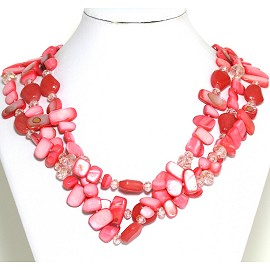Necklace 3 Strand Crystal Rectangle Seashell Red FNE551