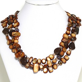 Necklace 3 Strand Crystal Rectangle Seashell Brown FNE554