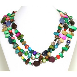 Necklace 3 Strand Crystal Rectangle Seashell Multi Color FNE555