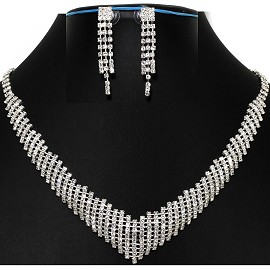 Necklace Earring Set All Rhinestones White Silver Tone FNE558