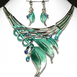 Necklace Earrings Set Sky Blue Silver Leaf FNE565
