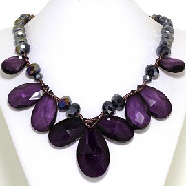 Jumbo Crystal Necklace Oval Tear Drop Purple Gray FNE567
