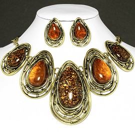Necklace Earring Set Oval Tear Brown Gold FNE568