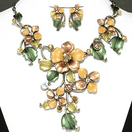 Necklace Earring Set Flower Rhinestone Dark Yellow FNE570