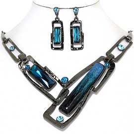 Necklace Earring Set Rectangle Rhinestone Gray Turquoise FNE572