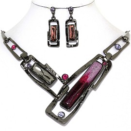 Necklace Earring Set Rectangle Rhinestone Gray Purple FNE576