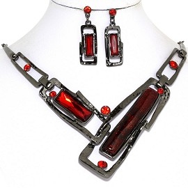 Necklace Earring Set Rectangle Rhinestone Gray Red FNE579