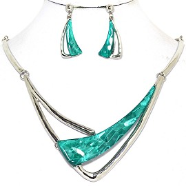 Necklace Earring Set Long Gem Shard Silver Turquoise FNE581