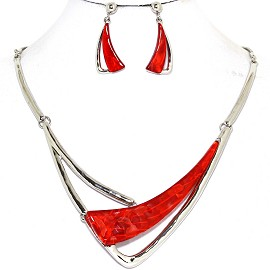 Necklace Earring Set Long Gem Shard Silver Red FNE582