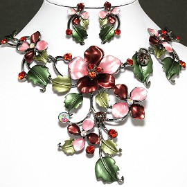 Necklace Earring Set Flower Rhinestone Dark Red FNE590