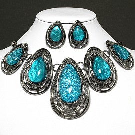Necklace Earring Set Oval Tear Gray Turquoise FNE591