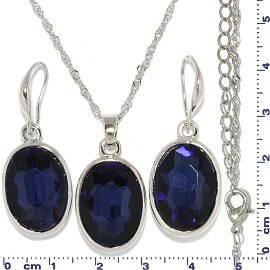 Necklace Earring Set Chain Oval Crystal Gem Silver D Blue FNE595
