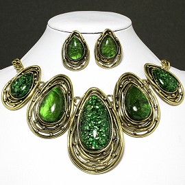 Necklace Earring Set Oval Tear Gold Green FNE599