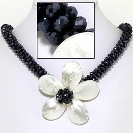 "18"" Mother Of Pearl Flower Mini Crystal Beads Black White FNE602"