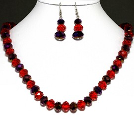 Crystal Necklace Earrings Red Purple FNE604