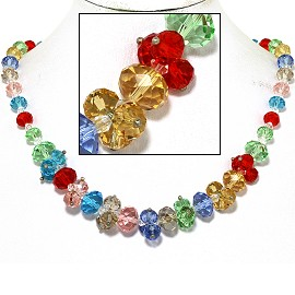 "18"" Necklace Oval Crystal Bead Magnetic Clasp Multi Color FNE612"