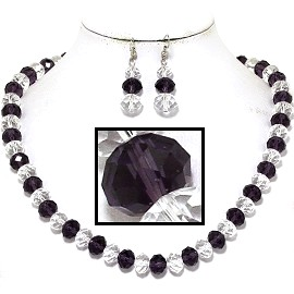 "18"" Necklace Earring Set Crystal Bead Magnet Purple Clear FNE620"