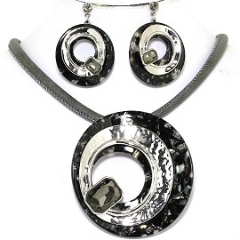 "19.5"" Necklace Earring Set Doughnut Gem Gray Silver Black FNE622"