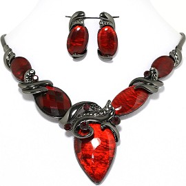 Necklace Earring Set Oval Red Gray FNE628