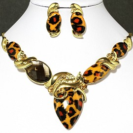 Necklace Earring Set Oval Orange Gold FNE629