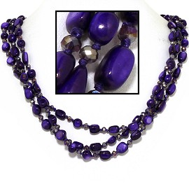"24"" Necklace Three Line Stone Crystal Bead Purple FNE634"