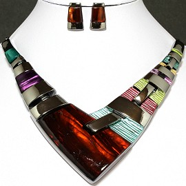 Necklace Earring Set Arrow Rectangle Silver Multi Color FNE638