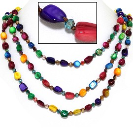 "18"" Necklace Three Line Stone Crystal Bead Multi Color FNE641"