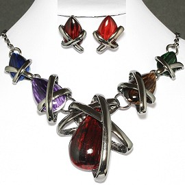Necklace Earring Set Tear Gray Multi Color Red FNE644