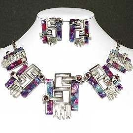 Necklace Earring Set Rectangle Silver Purple FNE648