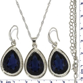 Necklace Earring Set Chain Tear Cut Gem Silver DK Blue FNE678