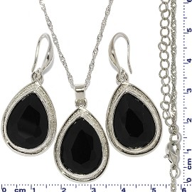 Necklace Earring Set Chain Tear Cut Gem Silver Black FNE679