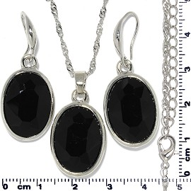 Necklace Earring Set Chain Oval Gem Silver Black FNE700