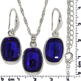Necklace Earring Set Chain Rectangle Gem Silver Blue FNE703