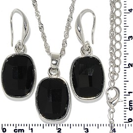 Necklace Earring Set Chain Rectangle Gem Silver Black FNE705