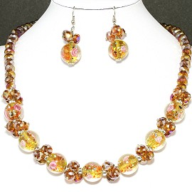 "19"" Crystal Glass Necklace Earring Tan Rose FNE712"