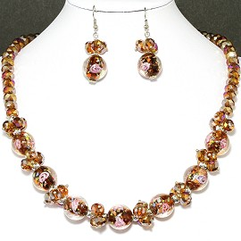 "19"" Crystal Glass Necklace Earring Brown Rose FNE713"