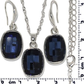 Necklace Earring Set Chain Rectangle Gem Silver Dark Blue FNE715