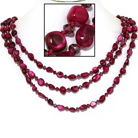"18"" Necklace Three Line Stone Crystal Bead Magenta Red FNE719"