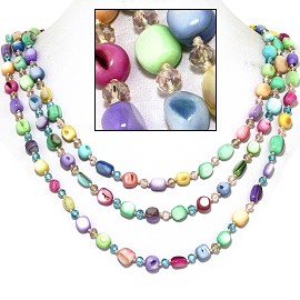 "18"" Necklace Three Line Stone Crystal Bead Multi Color Pa FNE720"