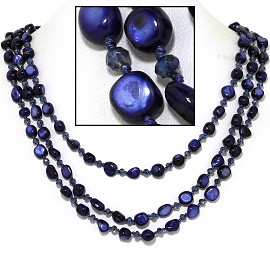 "18"" Necklace Three Line Stone Crystal Bead Dark Blue FNE721"