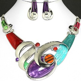 Necklace Earring Set Oval Multi Color Silver FNE724