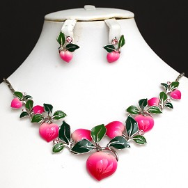 "Tropical Necklace Earring Set 17"" Peach Heart Magenta FNE725"