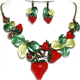 "Tropical Necklace Earring Set 19"" Strawberry Red Green FNE727"