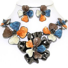 "19"" Necklace Earring Set Flower Orange Blue Brown Black FNE737"