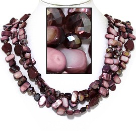 "20"" Necklace Three Line Flat Stone Bead Dark Purple Laven FNE738"